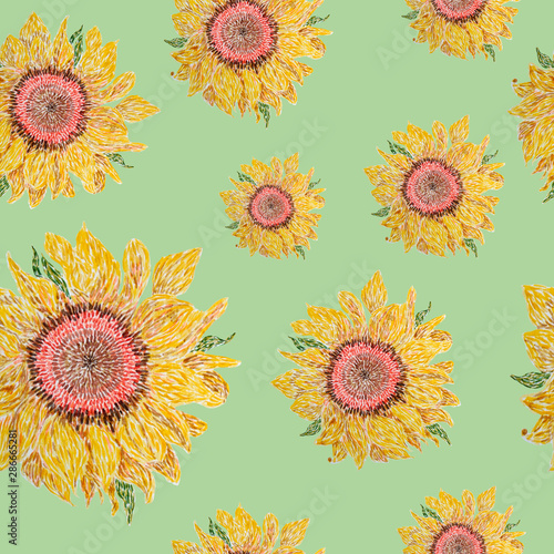 Seamless Pattern With The Image Of A Sunflower Suitable For