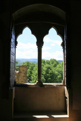 A mullioned windows in medieval castle