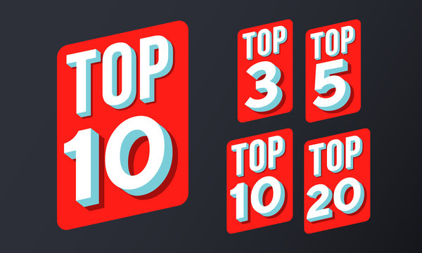 top 10, 3, 5, 20 rating chart vector red icons
