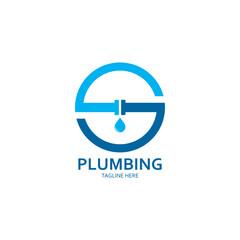 Plumbing logo vector icon illustration design