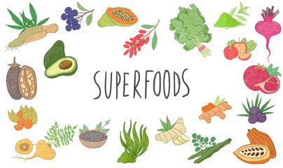 superfoods illustrations set