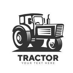 tractor abstract logo emblem on white background