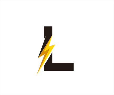 Thunder L Letter icon,  flash L logo icon
