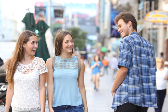 Man flirting with tho happy women