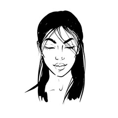Pretty asian woman portrait with closed eyes in mediattion. Vector hand drawn black and white illustration