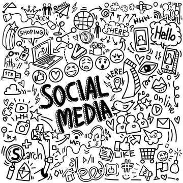 vector of objects and symbols on social media element, doodles sketch illustration