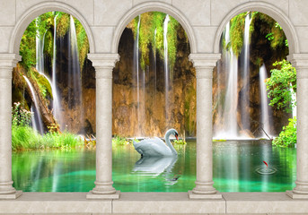 Wall Mural - 3d nature wallpaper and background stone brick