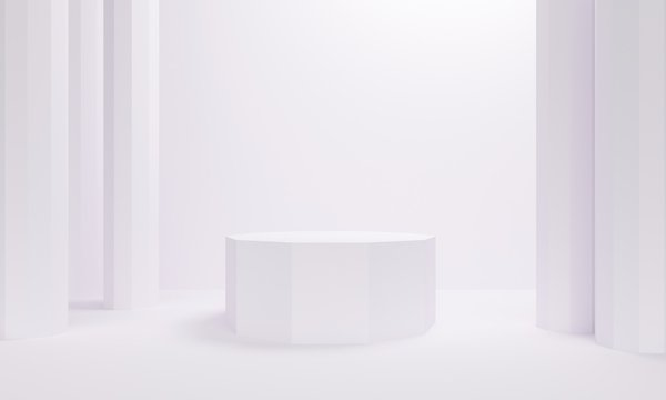 White abstract background with columns and platform. Backdrop design for product promotion. 3d rendering