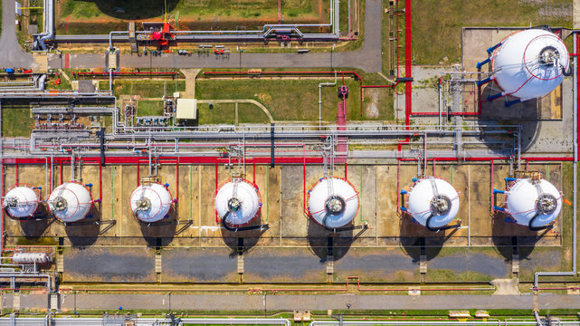 Aerial view of petrochemical industry storage tank, Industrial oil and gas tanks.