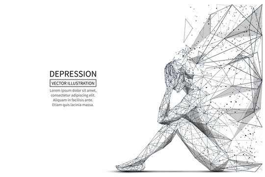 Depression low poly banner template. 3d polygonal woman. Depressed sitting girl, psychological disease concept art with connected dots and lines. Lonely person vector color wireframe mesh illustration