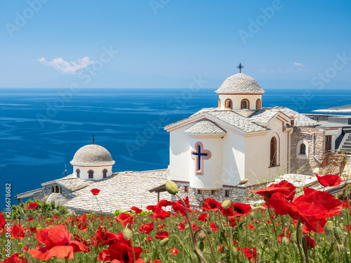 Wall mural Landscape with Holy Archangels Greek Orthodox Monastery, Thassos, Greece