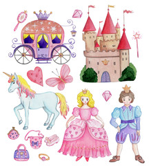 Poster Set collection of illustrations for kids, fairy tales elements, isolated.