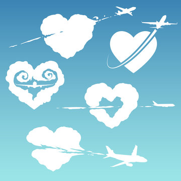 Airplane with cloud in heart form illustration