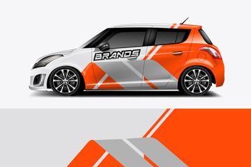 Fototapete - Car decal wrap design vector. Graphic abstract stripe racing background kit designs for vehicle, race car, rally, adventure and livery,eps 10
