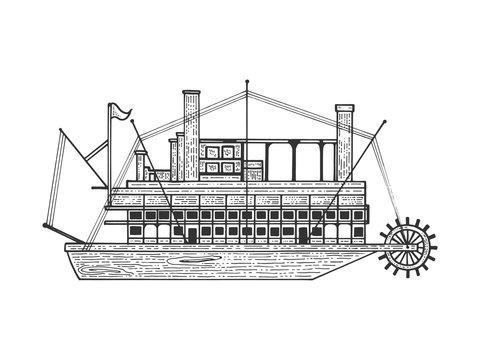 Vintage steam ship boat sketch engraving vector illustration. Tee shirt apparel print design. Scratch board style imitation. Hand drawn image.