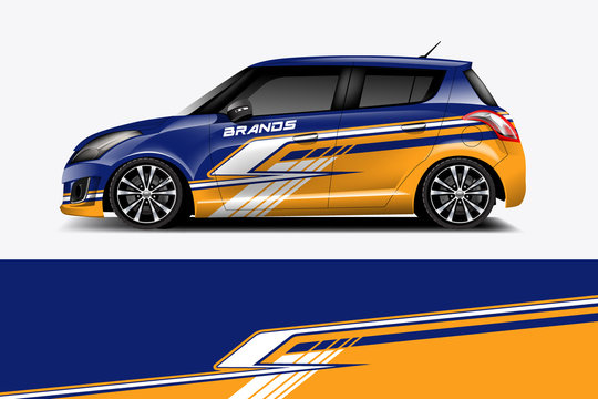 Car decal wrap design vector. Graphic abstract stripe racing background kit designs for vehicle, race car, rally, adventure and livery,eps 10