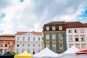 Aluminium Prints Wild West Market square colorful buildings in Brno, Czech Republic