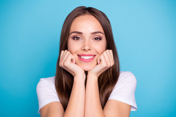 Close-up portrait of her she nice-looking attractive lovable perfect cheerful cheery straight-haired lady enjoying life isolated over bright vivid shine blue green teal turquoise background