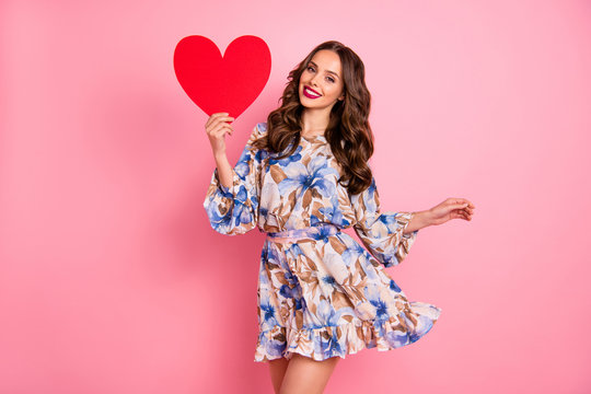Portrait of her she nice-looking attractive lovely fascinating adorable feminine cheerful cheery glad wavy-haired girl holding in hand large big healthy heart isolated over pink pastel background