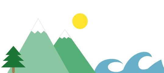 Mountains and sea landscape illustration. A simple mountain and sea illustration computer designed