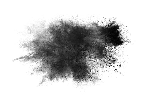 abstract powder splatted background. Black powder explosion on white background. Colored cloud. Colorful dust explode. Paint Holi.