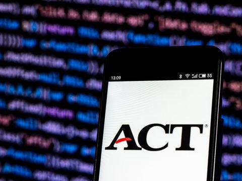 Kiev, Ukraine, November 2, 2018, illustrative editorial. ACT, Inc., Standardized test company  logo seen displayed on smart phone