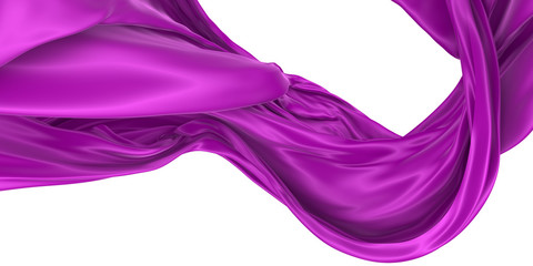 Wavy fabric on a white background. 3D rendering.