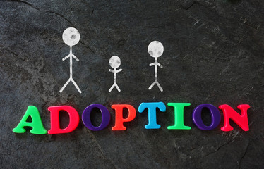Family of three adoption concept