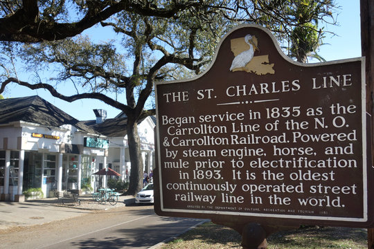 NEW ORLEANS,LA/USA -03-22-2019: Historical marker sign for the St Charles Street Car Line in New Orleans