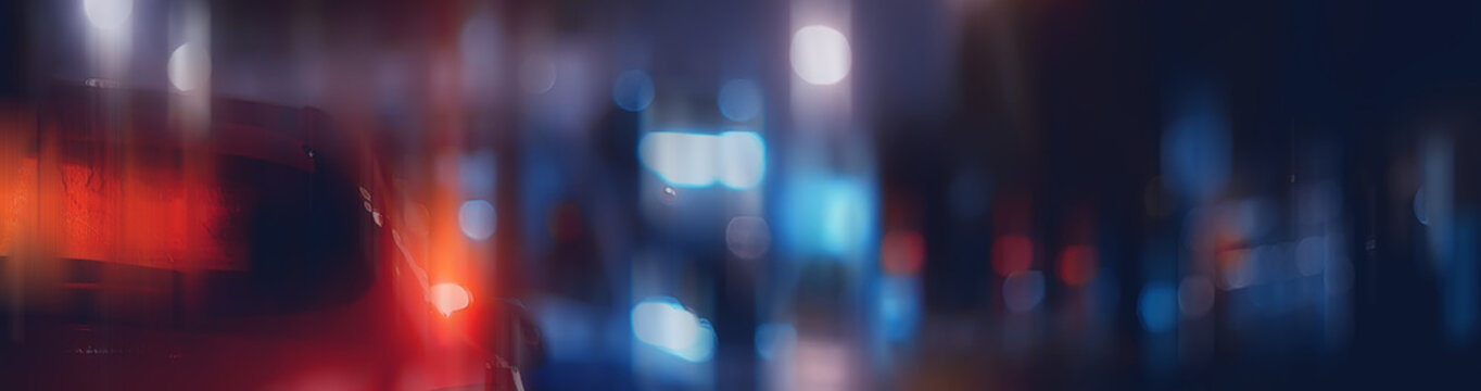 blurred abstract city / bokeh car lights background in night city, traffic jams, highway, night life