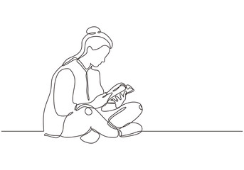 College girl study with reading a book continuous one line drawing, She sitting on the floor and enjoy the education.