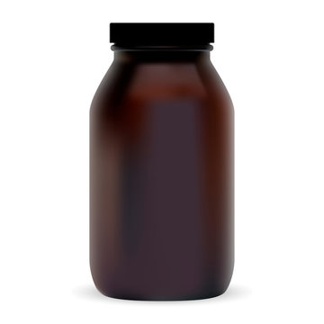 Brown Cosmetic Bottle. Plastic Beauty Package for shampoo, Lotion, Soap and other Hair Care Product. Isolated Amber Medical Container. Pharmaceutical Medicine Vial Blank Template. Medicament Jar