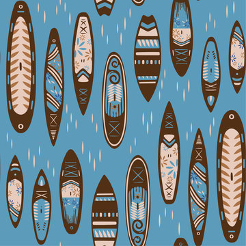 Stand Up Paddle Boarding SUP surfing colorful elements cute seamless pattern vector illustration with supboard, lifebuoy and wave on a blue background