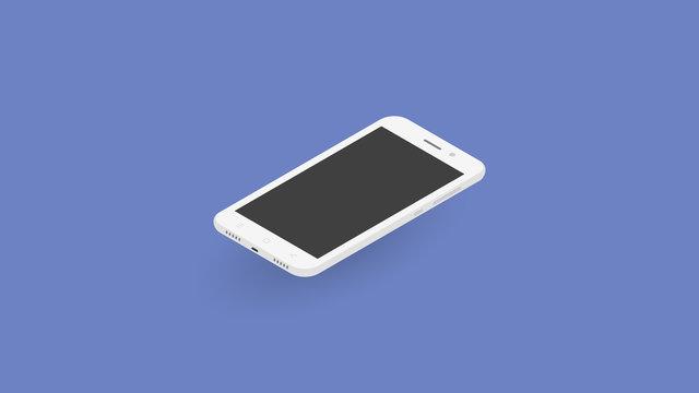 Isometric 3D white phone vector