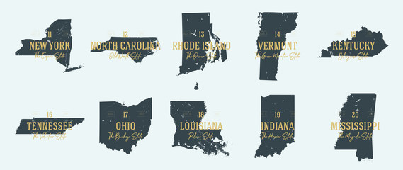Set 2 of 5 Highly detailed vector silhouettes of USA state maps with names and territory nicknames