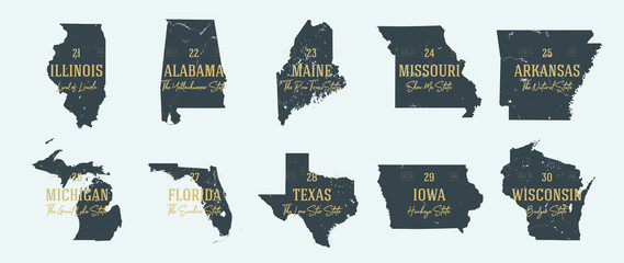 Set 3 of 5 Highly detailed vector silhouettes of USA state maps with names and territory nicknames