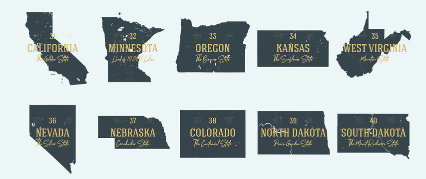 Set 4 of 5 Highly detailed vector silhouettes of USA state maps with names and territory nicknames