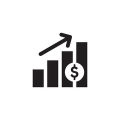 Finance exchange graphic growth up. Black web icon design. Vector illustration.