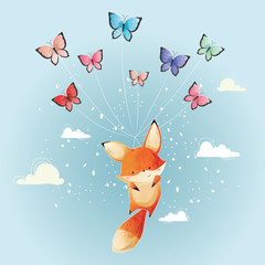 Cute Fox Flying with Butterflies