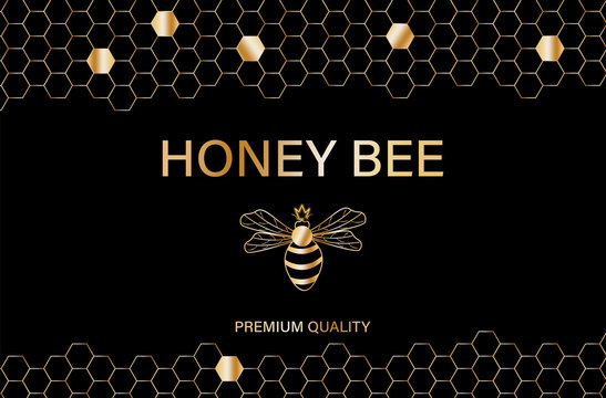Honey bee golden label Vector. Product placement quality template posters