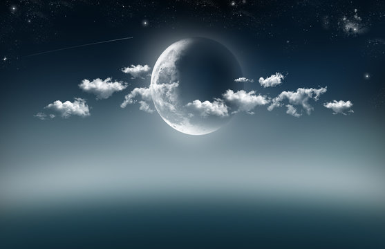 An illustration of a cresent moon in the centre lighting up a few of clouds at night with stars and shooting star against a night blue background.