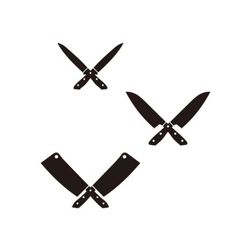 Restaurant knives set. Meat knives. Chef's knife and Meat cleaver isolated on old background. Vintage Logo design.