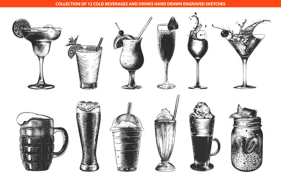 Vector engraved style cold beverages and cocktails collection for posters, decoration and menu, logo. Hand drawn monochrome sketches isolated on white background. Detailed vintage woodcut drawing.