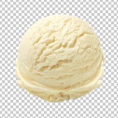 Vanilla ice cream scoop isolated on transparent background