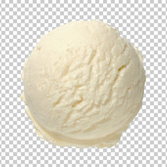 Vanilla ice cream scoop from top view  isolated on transparent background