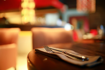 table setting restaurant / cutlery on a table in a cafe, the concept of beautiful food, European...