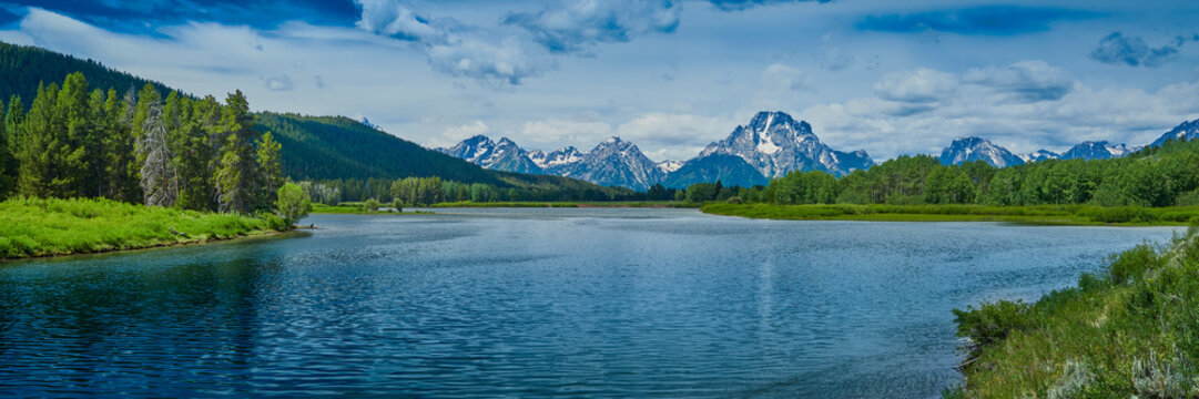 Mount Moran with the Sake River in the Grand Teton National Park, Wyoming.