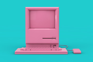 Pink Retro Personal Computer. The System Unit, Monitor, Keyboard and Mouse Mock Up Duotone. 3d Rendering