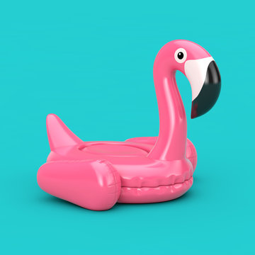 Summer Swimming Pool Inflantable Rubber Pink Flamingo Toy. 3d Rendering
