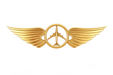 Golden Pilot Wing Emblem, Badge or Logo Symbol. 3d Rendering